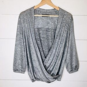 THE LIMITED Cross Front Silver Blouse MEDIUM EUC
